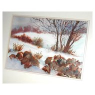 Scenic Winter Blues Watercolor in Blue Wood Frame