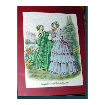 """Nicely Framed Linen Picture, """"Godey's Americanized Paris Fashions 1849"""""""