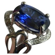 Over 4 ct. Sapphire & Diamond white Gold ring