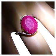 Very large natural Ruby & Diamond Ring