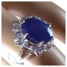 5.5 carat Natural Sapphire & Diamond Cluster Ring
