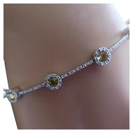 Hallmarked Diamond & Golden Citrine Bracelet