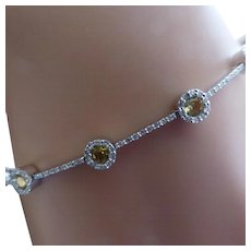 Hallmarked Diamond & Golden Citrine Bracelet