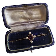 Almandine Garnet & Diamond Antique Brooch / Pin