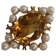 Gold, Golden Citrine & Pearl Brooch