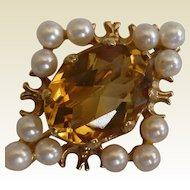Gold, Golden Citrine & Pearl Brooch