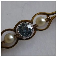 15ct Victorian. Aquamarine & Pearl Brooch / Pin.