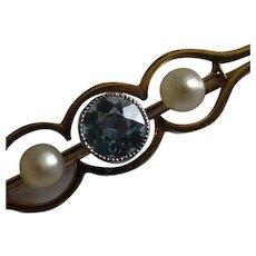15ct Victorian. Aquamarine & Pearl Brooch / Pin.