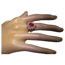 A very special Red Ruby & Diamond Fancy 14k Ring