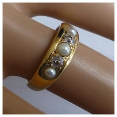 Antique 18k Diamond & Pearl Gipsy Ring