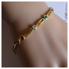 Gold Mixed Coloured Gem Stone Bracelet