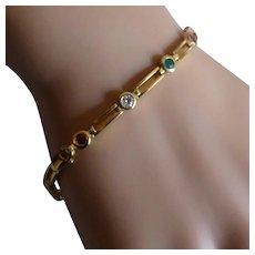 Gold Mixed Coloured Gem Stone Bracelet