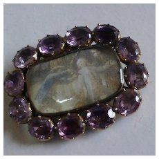 Memorial Brooch / Pendent set with Amethyst