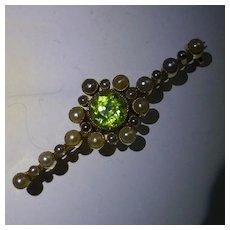 18k Peridot & Seed pearl Brooch