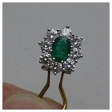 Fine Emerald & 2 carat Diamond Ear Rings