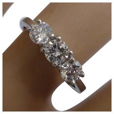 A very fine Platinum 3 stone Diamond Ring