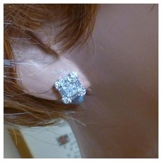 Princess, Baguettes & Brilliant cut Diamonds Ear Studs