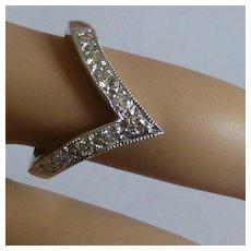 "18k Diamond ""Wishbone"" Half Eternity Ring"