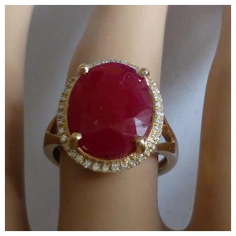 14kt Large Ruby & Diamond Cluster Ring