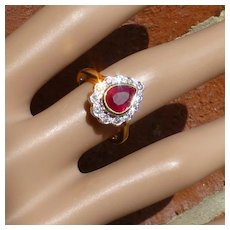 Fine Pear Shape Ruby & Diamond Ring