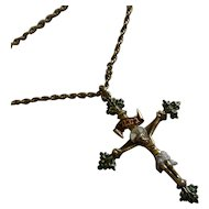 Antique Enamel Silver gilt Crucifix & Chain