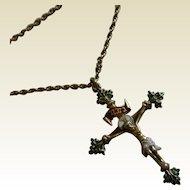 Antique Enamel Silver gilt Crucifix & Chain