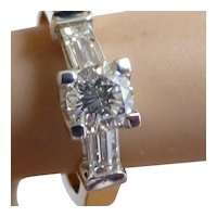 0.90 Carat White Brilliant Cut Diamond & Baguette  Ring