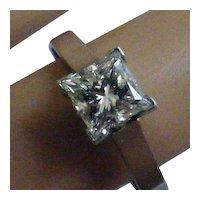 Exactly 1.00 carat, Princess Cut Diamond Platinum Ring