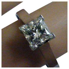 Exactly 1.00 carat, Princess Cut Diamond Platinum Ring