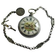 Fusee - Silver - Pocket Watch, Chain & Key