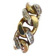 18k Diamond chain link Gents ring