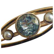 Aquamarine & Seed Pearl Brooch