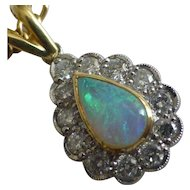 Fine Harlequin natural Opal & Diamond Pendent & Chain .