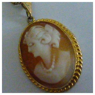 """Hand carved Cameo with 22"""" Gold chain"""