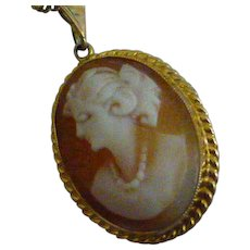 "Hand carved Cameo with 22"" Gold chain"