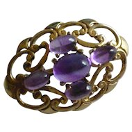 GOLD Amethyst set Brooch