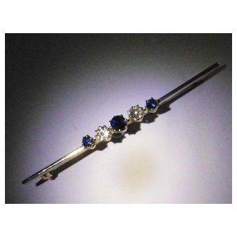 Antique Sapphire & Diamond Pin
