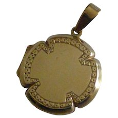 "Very heavy GOLD ""Shamrock"" Locket"