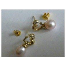 Diamond & Fresh water Pearl drop Ear Studs