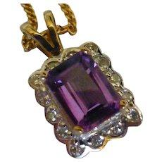 Amethyst & Diamond Gold pendent & Chain
