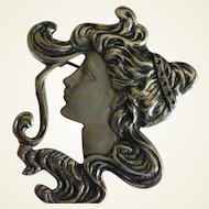 """Large """"Art Deco"""" style Silver Pendant / Brooch"""