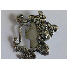 """Large """"Art Deco"""" style Silver Pendent / Brooch"""