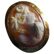 A fine 14k Cameo Brooch / Pendant with high features.