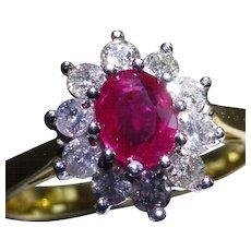 Pigeon Blood Ruby & Diamond 18k cluster Ring.