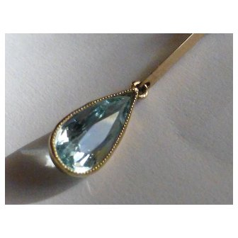 Drop Aquamarine & Pearl Gold necklace