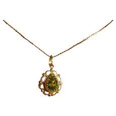 Natural Peridot Gold Pendant & Chain