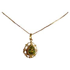 Natural Peridot Gold pendent & Chain