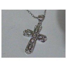 White gold Diamond Cross & Chain