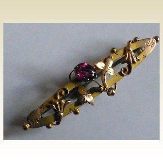 Almandine Garnet Gold Brooch