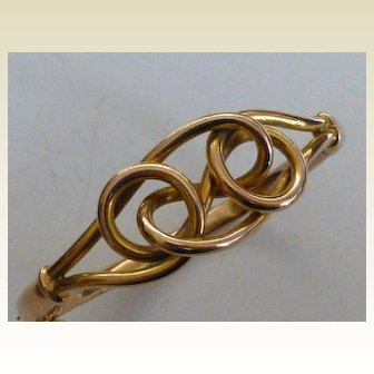 """English antique Gold """"Lovers Knot"""" Bangle"""